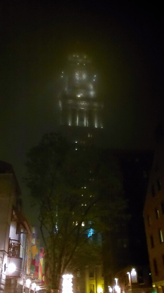 Custom Tower on a foggy night