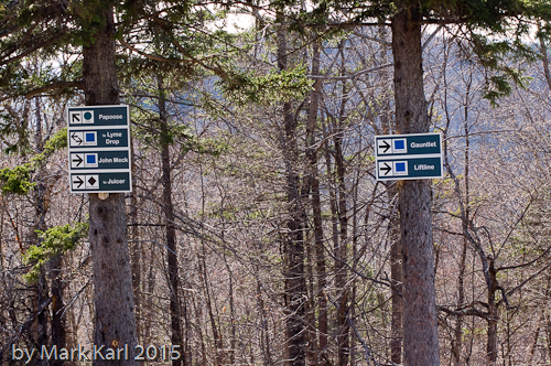 Ski Trail signs at Dartmouth Skiway