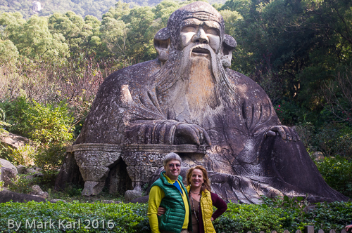 Jennifer and I at the Stone Statue of Laozi