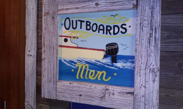 Mens Room Sign at Skipers Dockside Key Largo